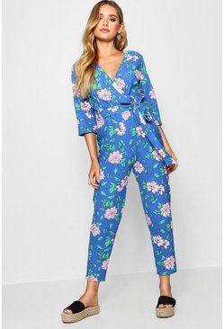 Womens Blue Floral Wrap Jumpsuit