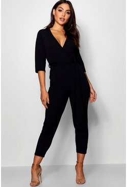 Womens Black Wrap Jumpsuit