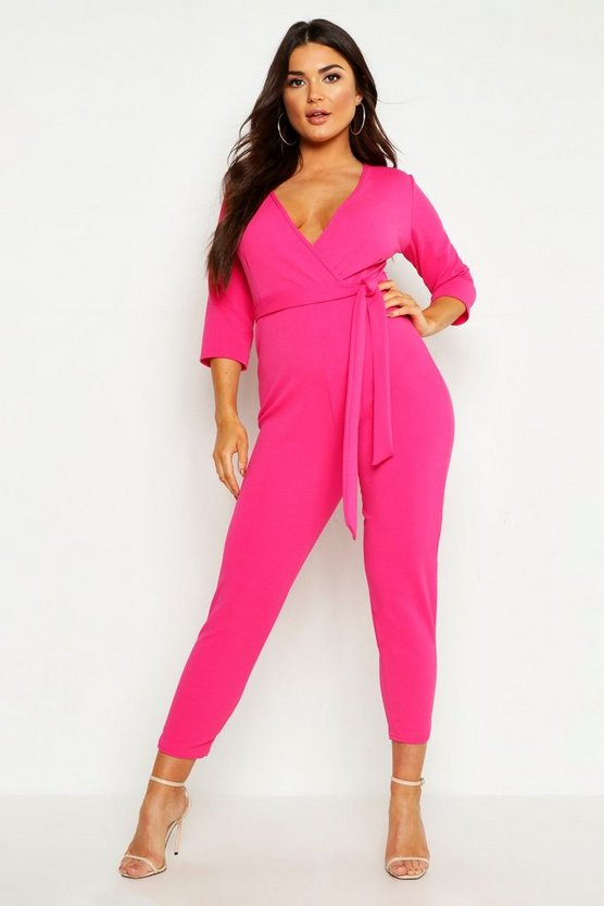 Jumpsuit im Wickeldesign, Hot pink, Damen
