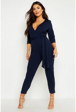 Womens Navy Wrap Jumpsuit