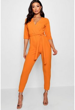 Orange Wrap Jumpsuit