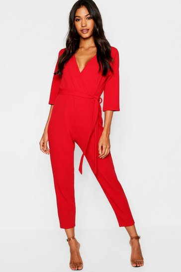 Womens Red Wrap Jumpsuit