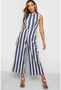 Womens Navy High Neck Stripe Jumpsuit