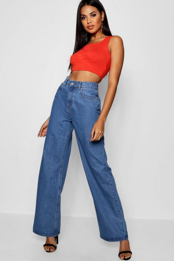 "Tamsin Stonewashed 34"""" Wide Leg Jean, Mid blue, Donna"