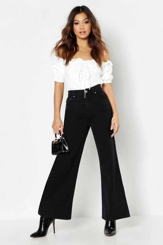 Stonewashed Rigid Wide Leg Jean