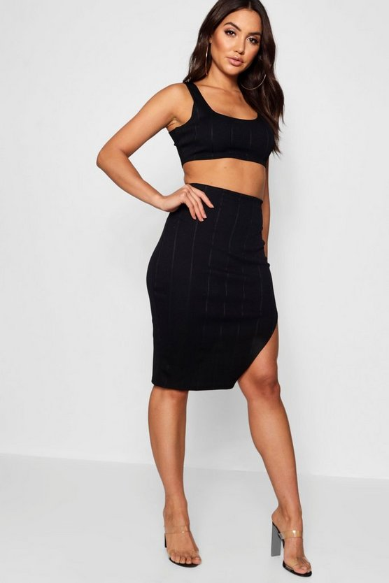 Black Bandage Skirt and Crop Top Co-ord Set