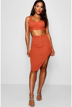Womens Camel Bandage Skirt and Crop Top Co-ord Set