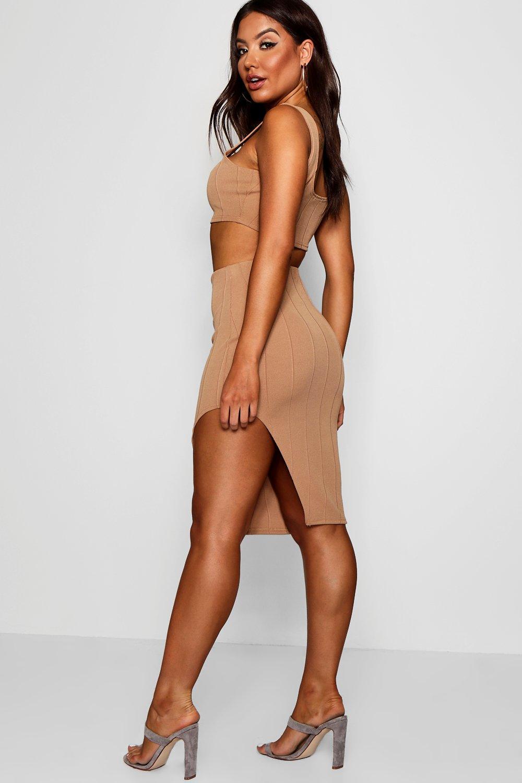 Top Bandage and Set Crop ord Skirt Co camel 6qgwqxtrC