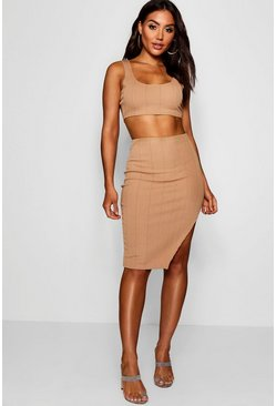 Womens Mocha Bandage Skirt and Crop Top Co-ord Set