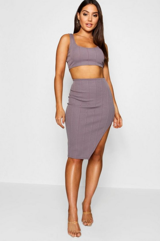 Womens Slate Bandage Skirt and Crop Top Co-ord Set
