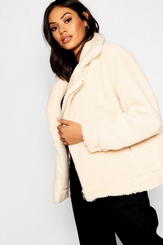 Womens Cream Teddy Faux Fur Aviator