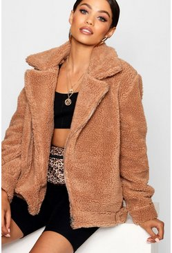Teddy Faux Fur Aviator, Brown, Donna
