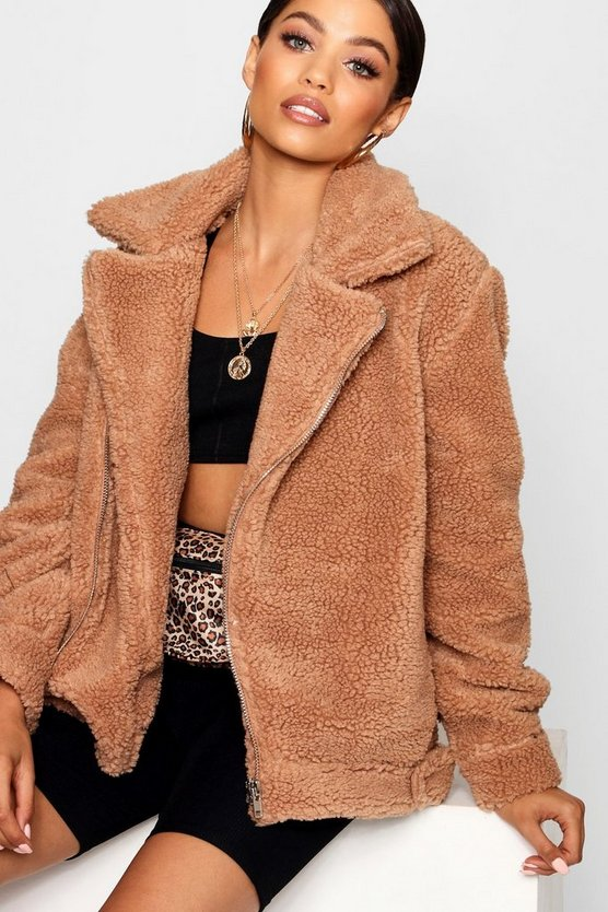 Womens Brown Teddy Faux Fur Aviator