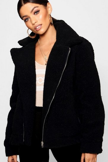 Womens Black Teddy Faux Fur Aviator