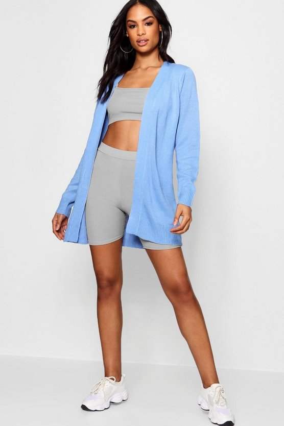 Midi Length Open Front Cardigan