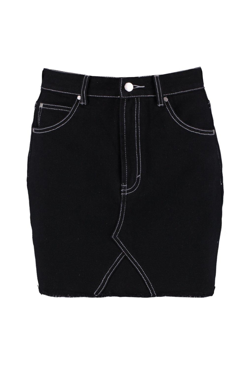 Denim Skirt Contrast Contrast Stitch Stitch black Denim 4SUa4qRWI