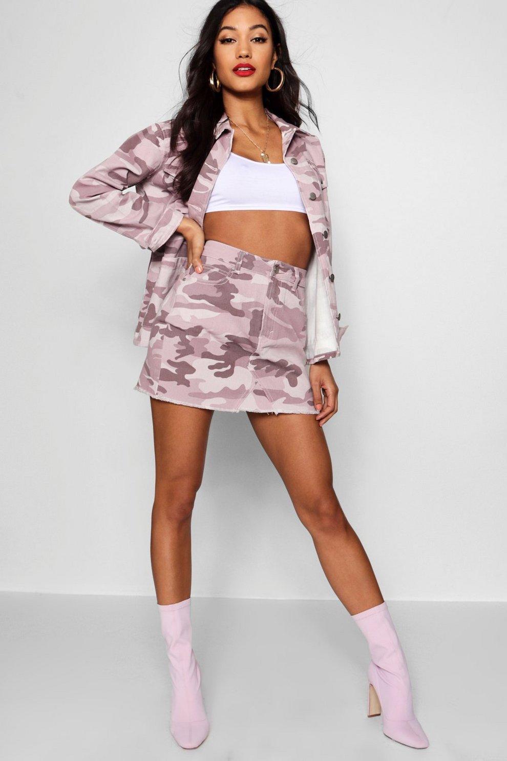 4cde0a176 Pink Washed Camo Denim Skirt   Boohoo