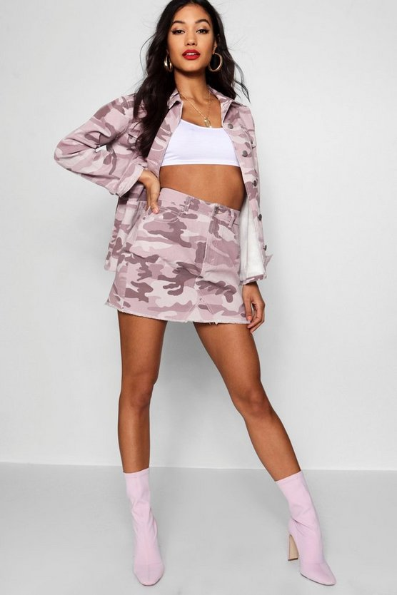Pink Washed Camo Denim Skirt