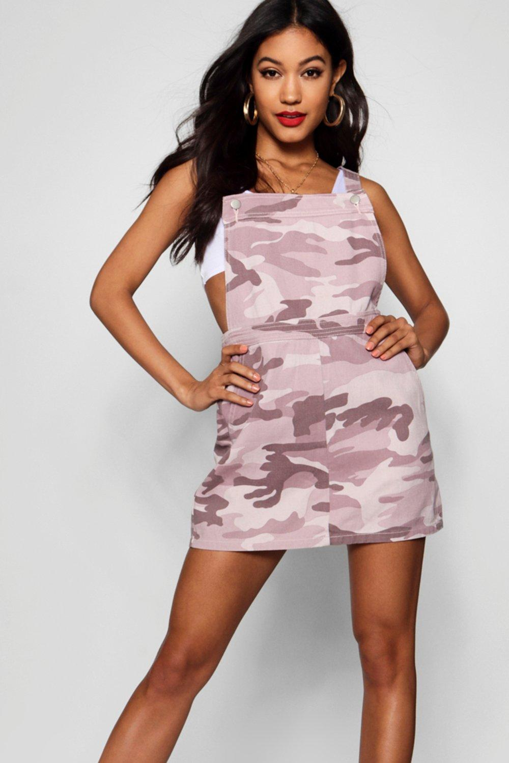 Pink Washed Camo Denim Pinafore Dress. Hover to zoom 4407198a1