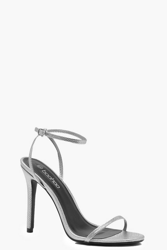 Heels in Metallic-Optik mit schmalen Riemen und Schlangen-Design