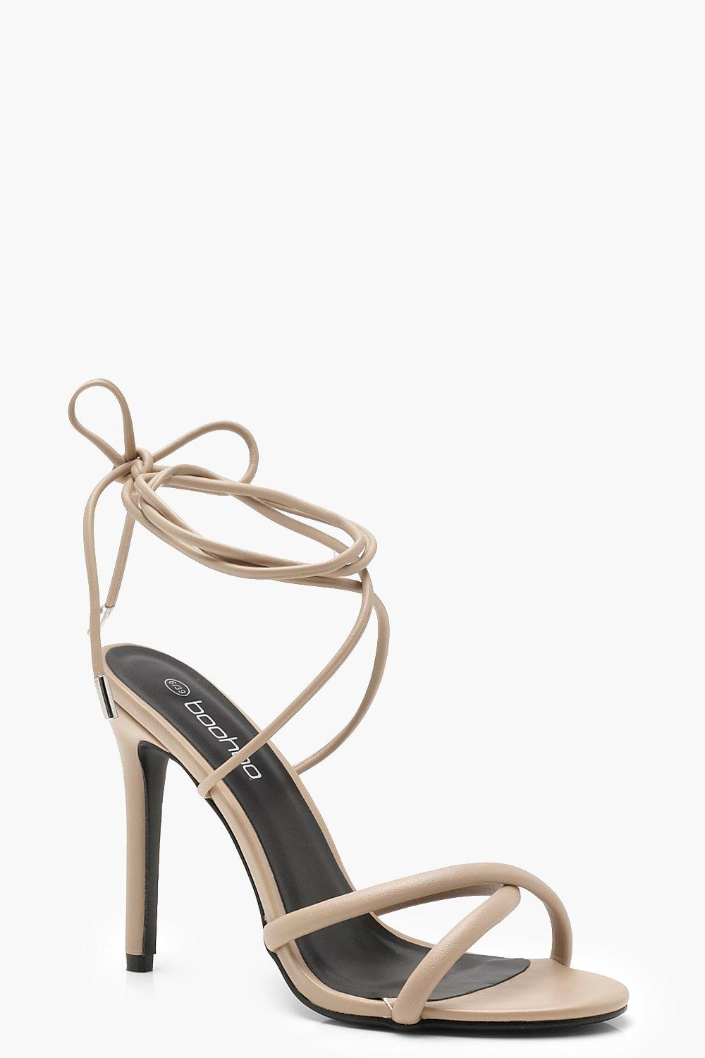 760bffe2ea8b Womens Nude Cross Strap Wrap Ankle Heels. Hover to zoom