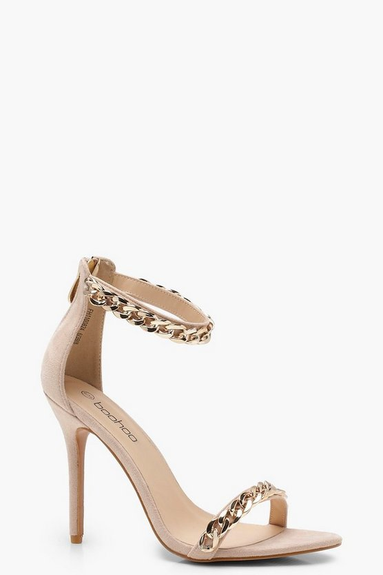 Chain Strap Pointed Barely There Heels