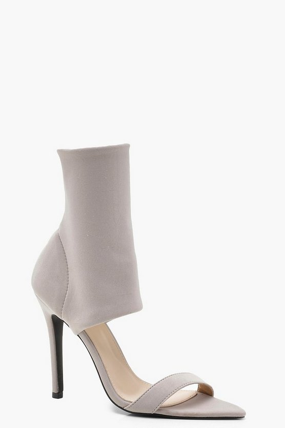 Womens Grey Pointed Cuff Heels