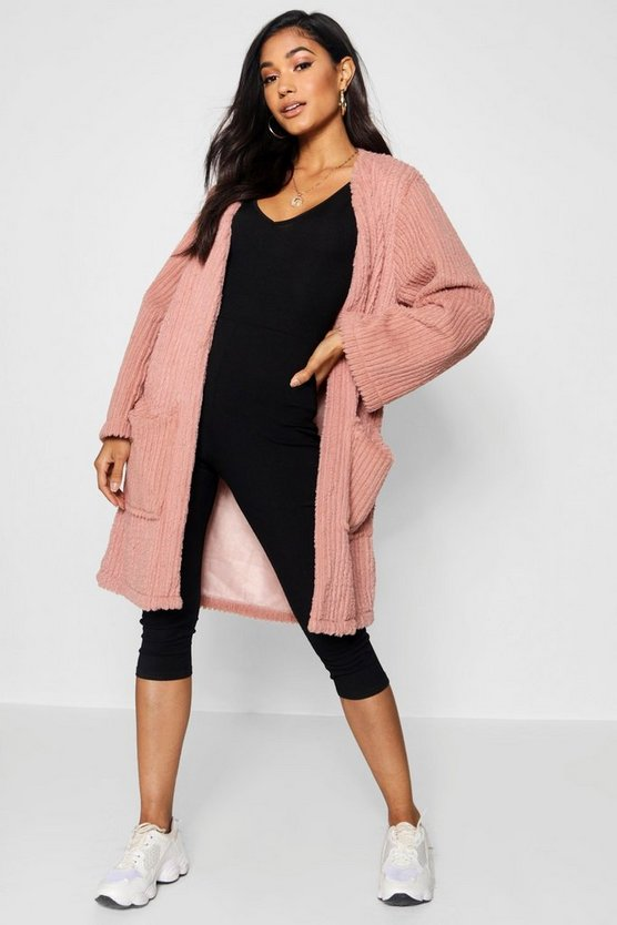 Panelled Collarless Faux Fur Coat