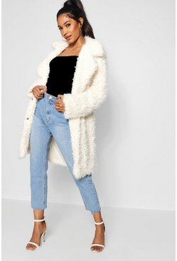 Shaggy-Mantel aus Fake-Fur, Creme, Damen