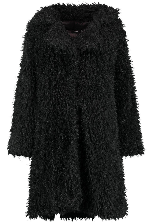 Faux black Coat Fur Look Shaggy XRqdwUCxU