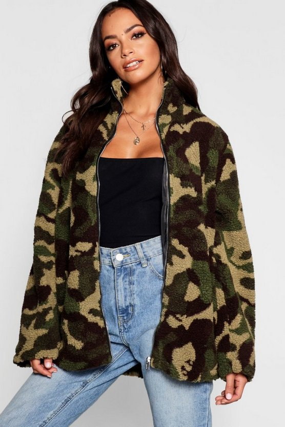 Womens Khaki Camo Funnel Neck Fleece Jacket