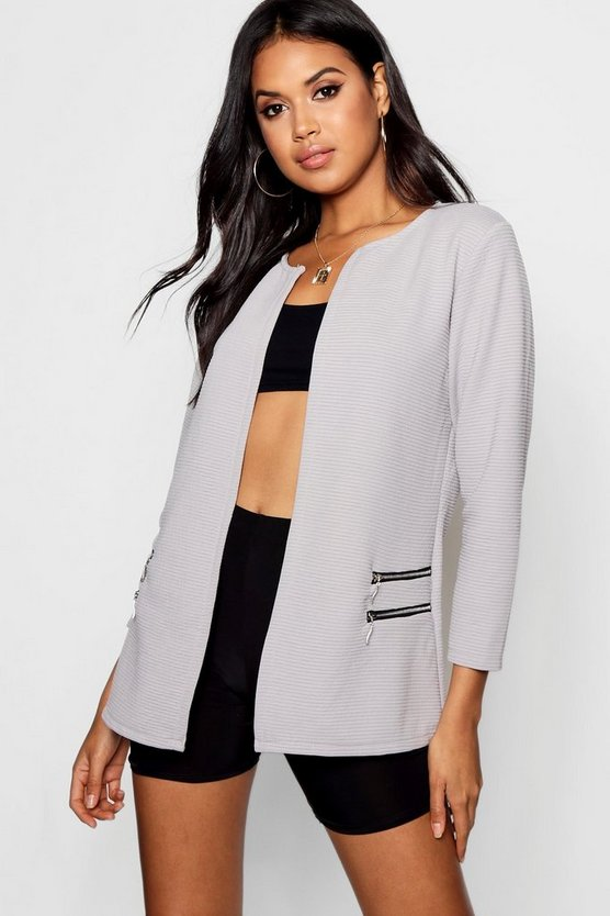 Rib Collarless Zip Detail Duster