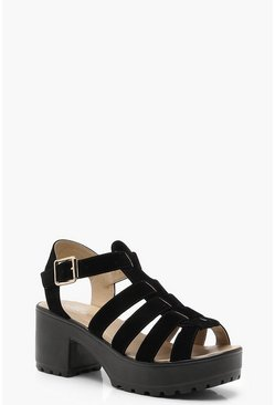 Cleated Fisherman Sandals, Black, Donna