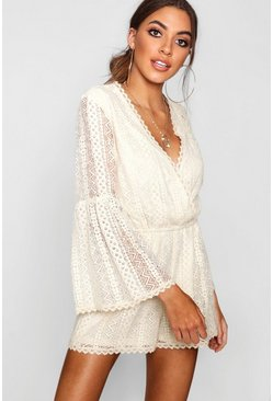 Flare Sleeve Crochet Playsuit, Cream, MUJER