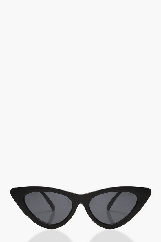 Womens Black Matte Black Skinny Cat Eye Sunglasses