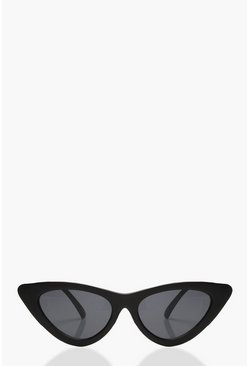 Womens Matte Black Skinny Cat Eye Sunglasses