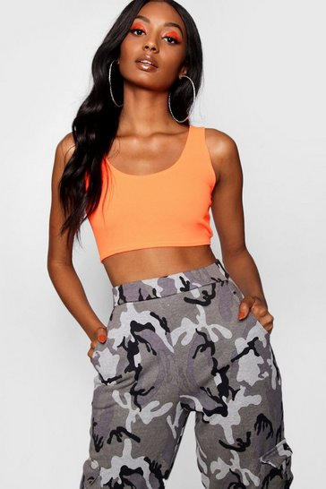 Womens Neon-orange Crepe Bralet