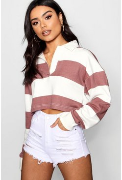 Womens Terracotta Stripe Boxy Rugby Top