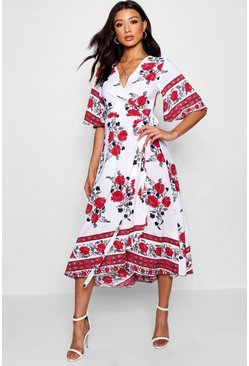 Womens Ivory Flared Sleeve Wrapped Floral Maxi Dress