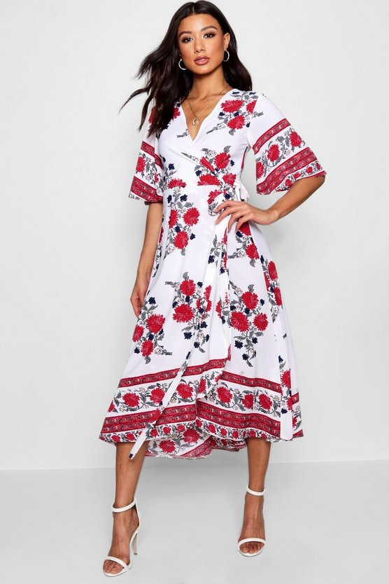 Flared Sleeve Wrapped Floral Maxi Dress