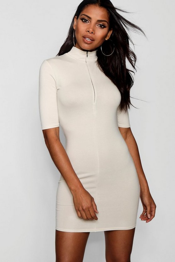 Zip Detail High Neck Bodycon Dress