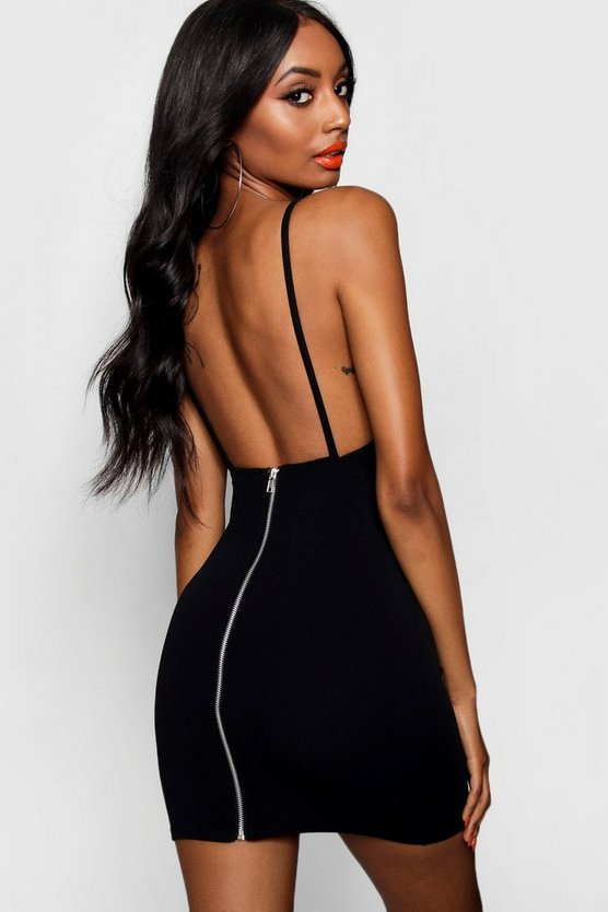Backless Zip Detail Neon Bodycon Dress