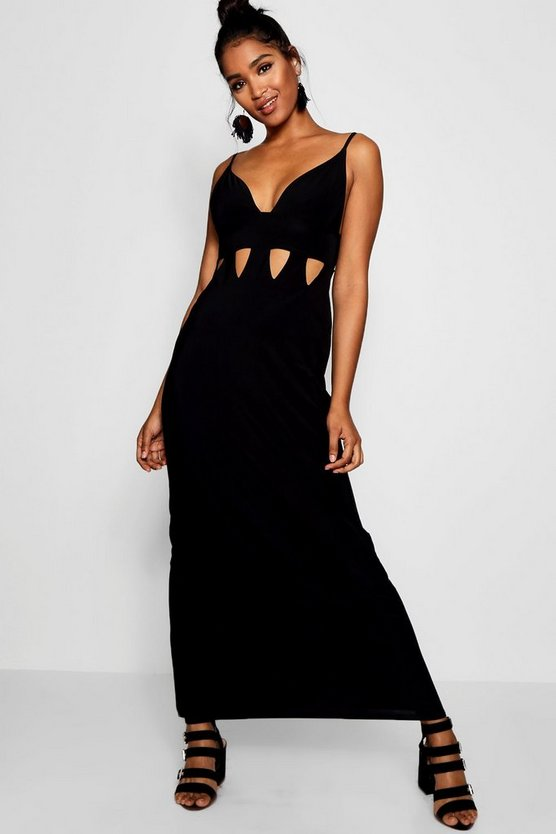 Plunge Front Cut Work Maxi Dress