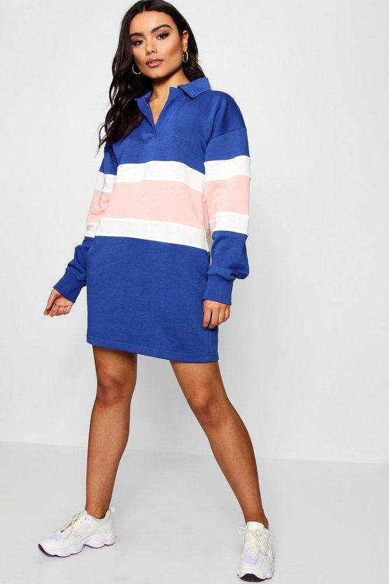 Oversized Stripe Rugby Shirt Dress