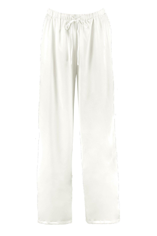 Leg Trouser Satin Wide Wide ivory Satin 70Bqaxt
