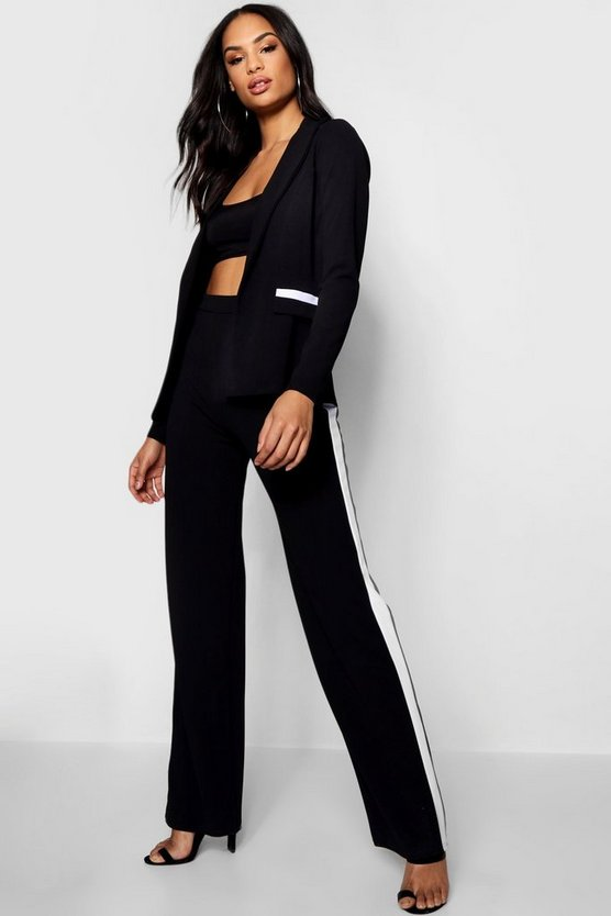 Womens Black Contrast Piping Detail Blazer