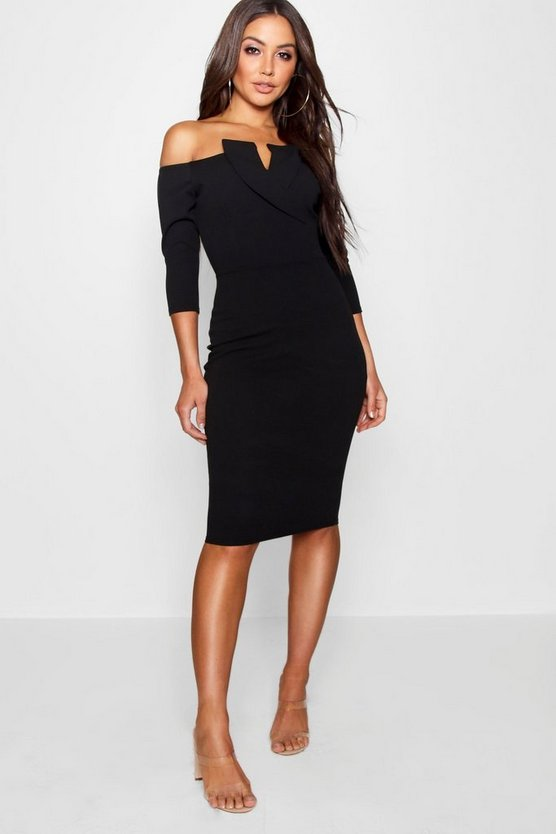 Bardot Longsleeve Tux Midi Dress