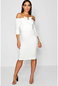 Womens Ivory Bardot Long Sleeve Tux Midi Dress