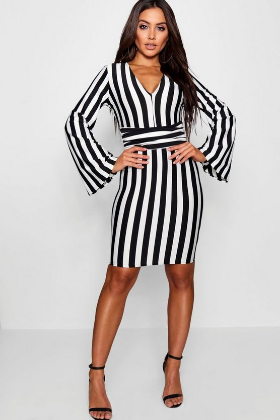 Ruched Waistband Stripe Bodycon Dress