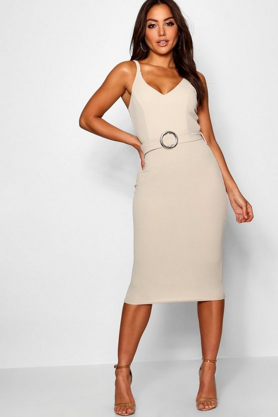 Belted Strappy Midi Dress